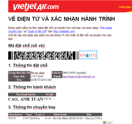 Kiểm tra mã đặt chỗ Vietjet
