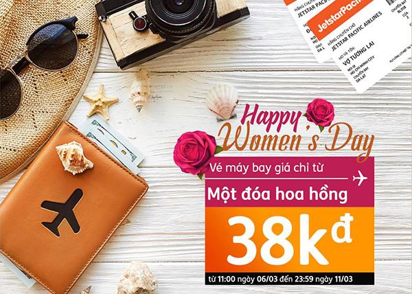 Quốc tế phụ nữ 8 tháng 3 khuyến mãi vé máy bay chỉ 38K