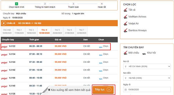 Lựa chọn chuyến bay tiết kiệm theo kế hoạch đã định trước